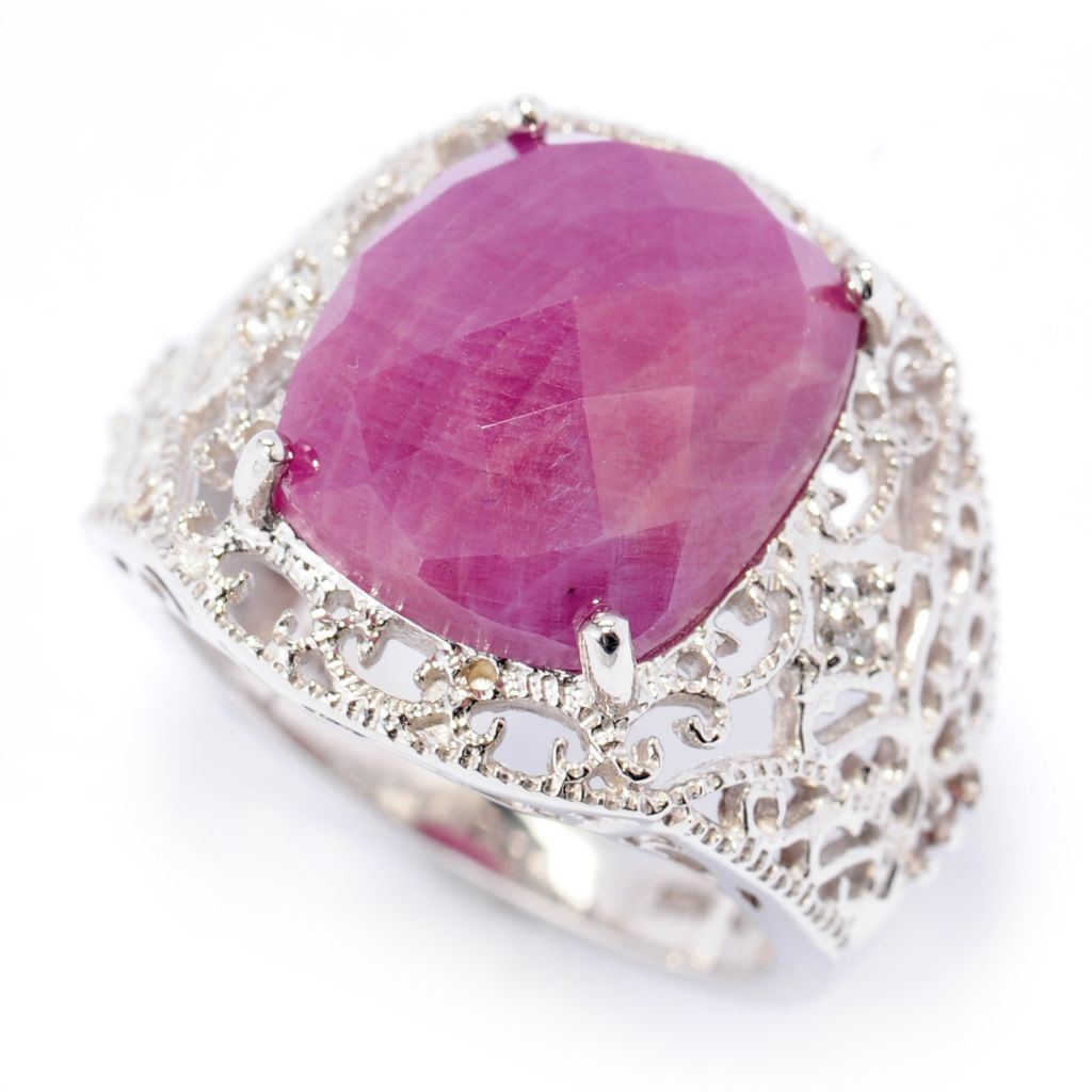 138-461 - Gem Treasures Sterling Silver 14 x 12mm Madurai Ruby & White Topaz Ring