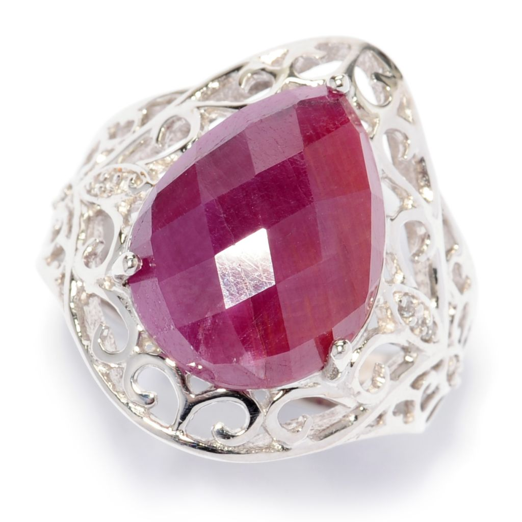 138-462 - Gem Treasures Sterling Silver 16 x 12mm Madurai Ruby & White Topaz Ring