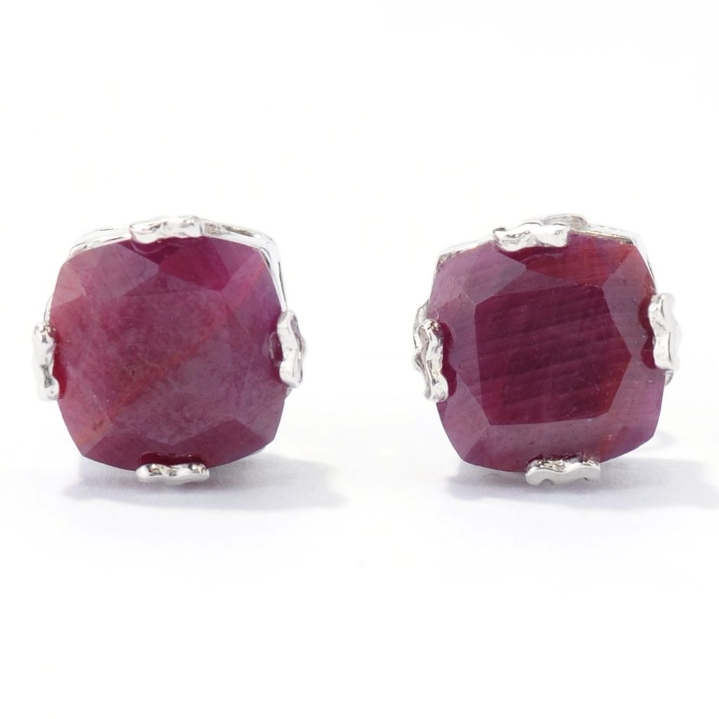 138-464 - Gem Treasures Sterling Silver 8mm Indian Ruby Cushion Shaped Stud Earrings
