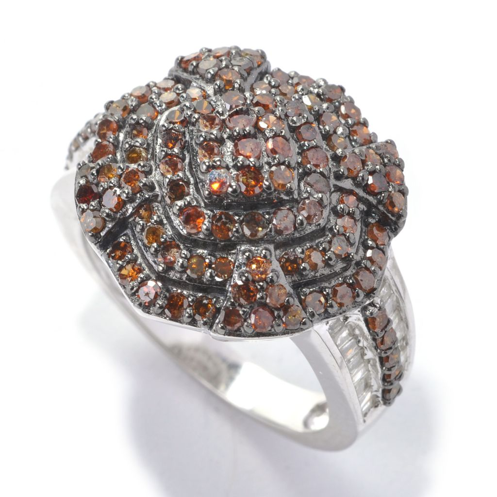 138-469 - Diamond Treasures Sterling Silver 1.23ctw Red & White Diamond Terraced Ring