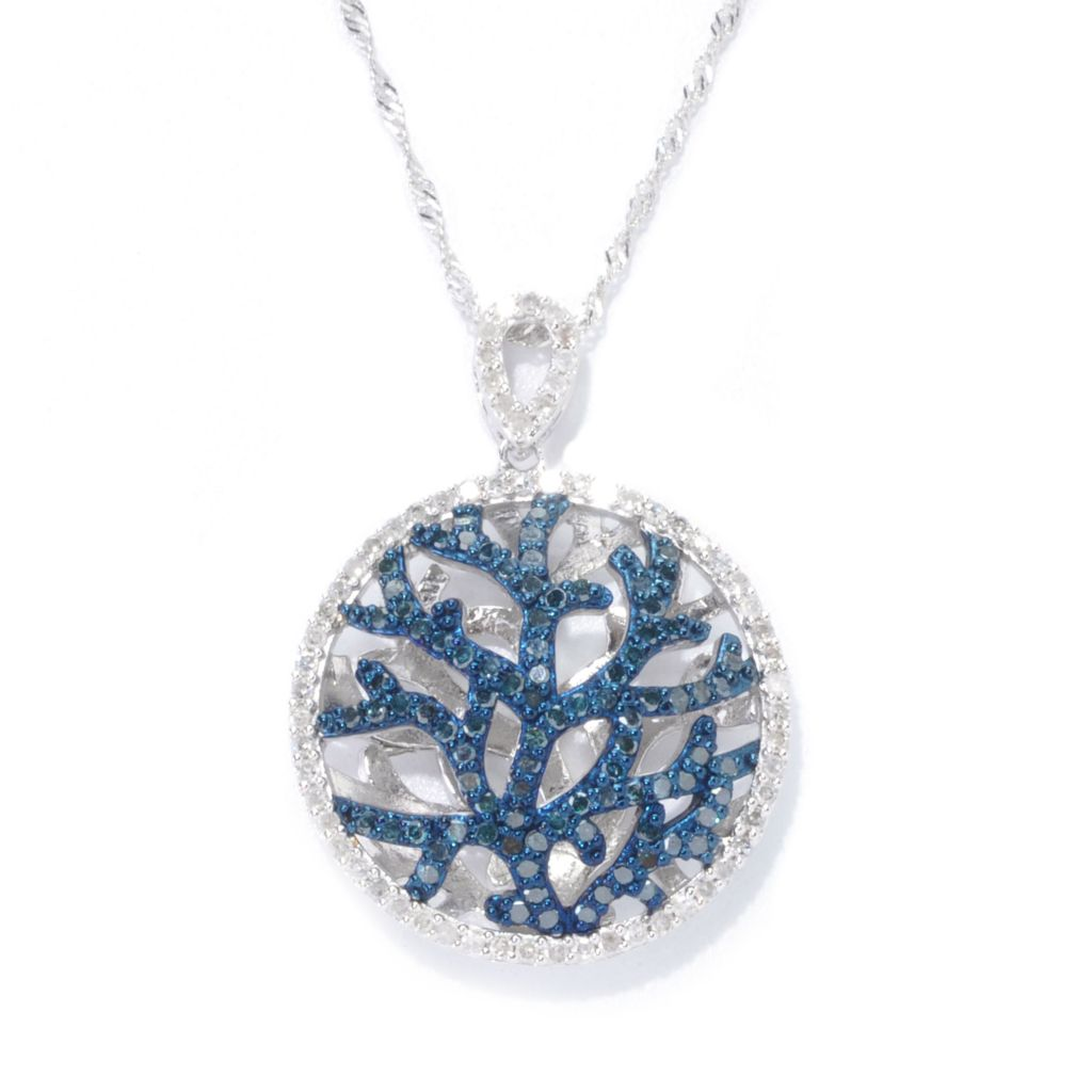 "138-472 - Diamond Treasures Sterling Silver 1.00ctw Multi Diamond ""Tree of Life"" Pendant"