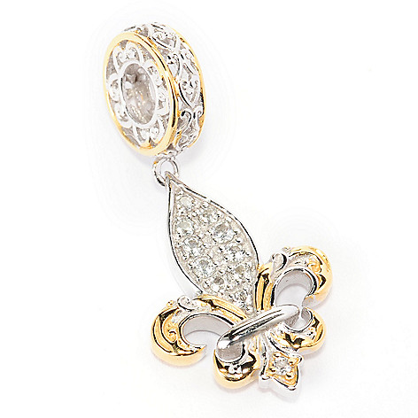 138-473 - Gems en Vogue White Topaz Fleur-de-lis Double-Sided Drop Charm