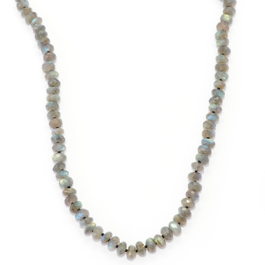 "138-475 - Gem Insider Sterling Silver 35"" Multi Shape Labradorite Station Necklace"