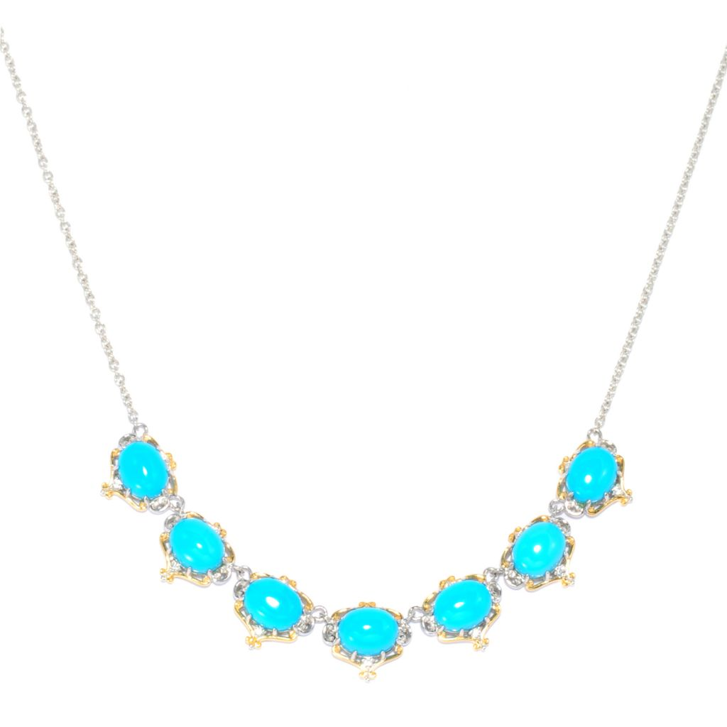 138-476 - Gems en Vogue Sleeping Beauty Turquoise & White Sapphire Seven-Stone Necklace