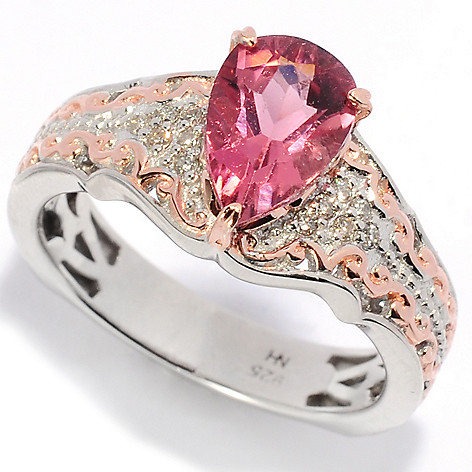 138-477 - Gems en Vogue 1.10ctw Pear Shaped Pink Tourmaline & Diamond Ring