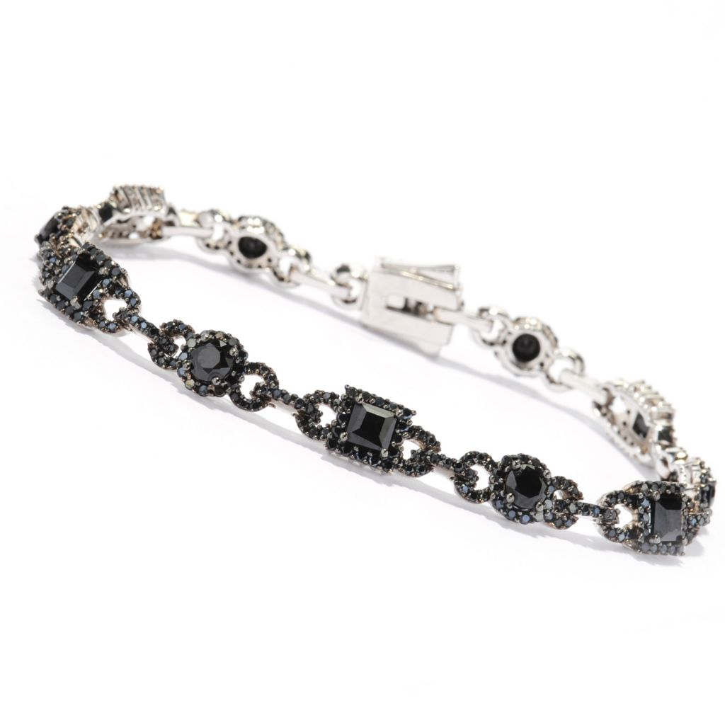 138-479 - Gem Treasures Sterling Silver Black Spinel Alternating Link Bracelet