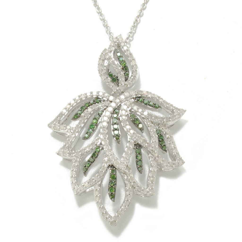138-481 - Diamond Treasures Sterling Silver 1.33ctw Green & White Diamond Leaf Pendant w/ Chain