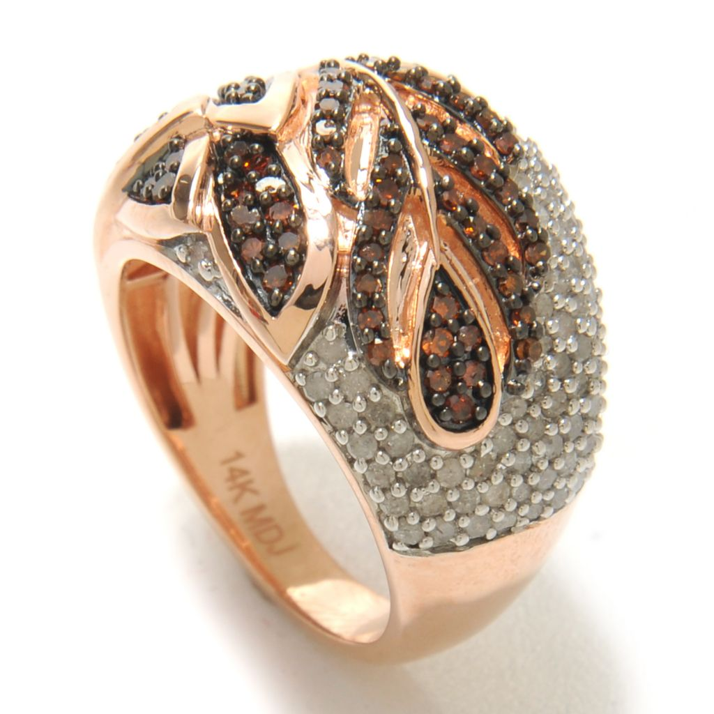 138-483 - Diamond Treasures 14K Rose Gold 1.25ctw Red & White Diamond Leaf Domed Ring