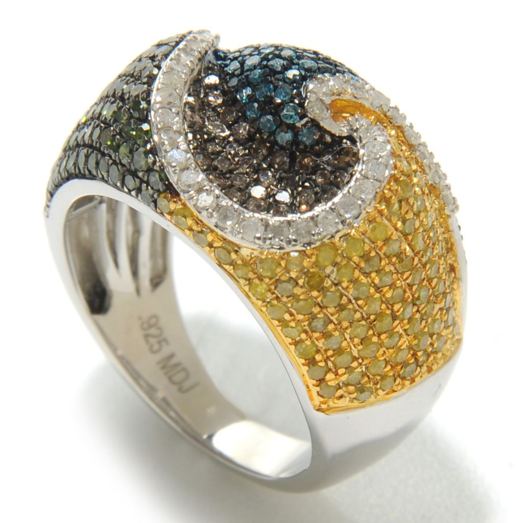 138-485 - Diamond Treasures Sterling Silver 1.50ctw Fancy Color Diamond Swirl Ring