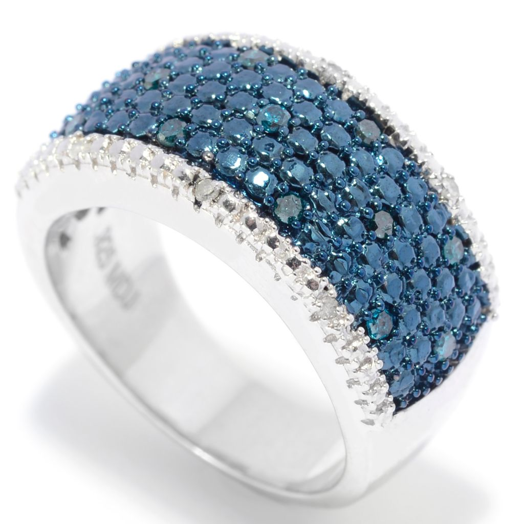 138-486 - Diamond Treasures Sterling Silver 0.20ctw Blue & White Diamond Illusion Ring