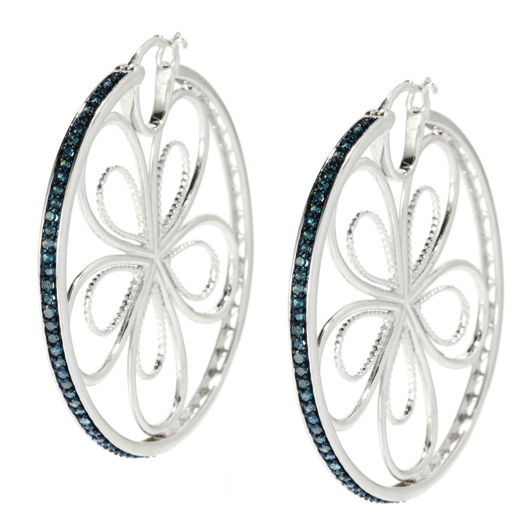 "138-489 - Diamond Treasures Sterling Silver 1.75"" 1.03ctw Blue Diamond Floral Hoop Earrings"