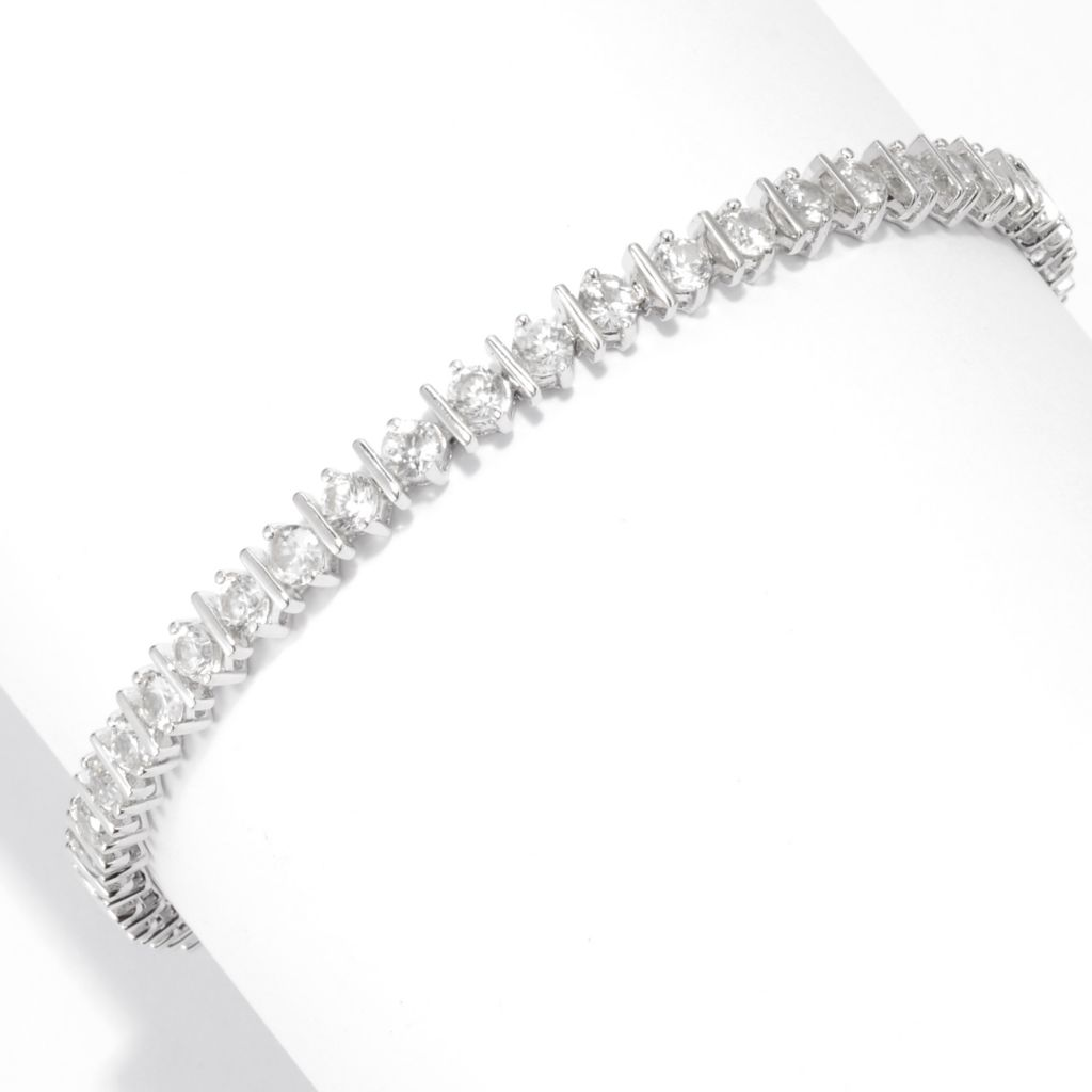 138-494 - Gem Treasures Sterling Silver 7.01ctw Round White Zircon Tennis Bracelet