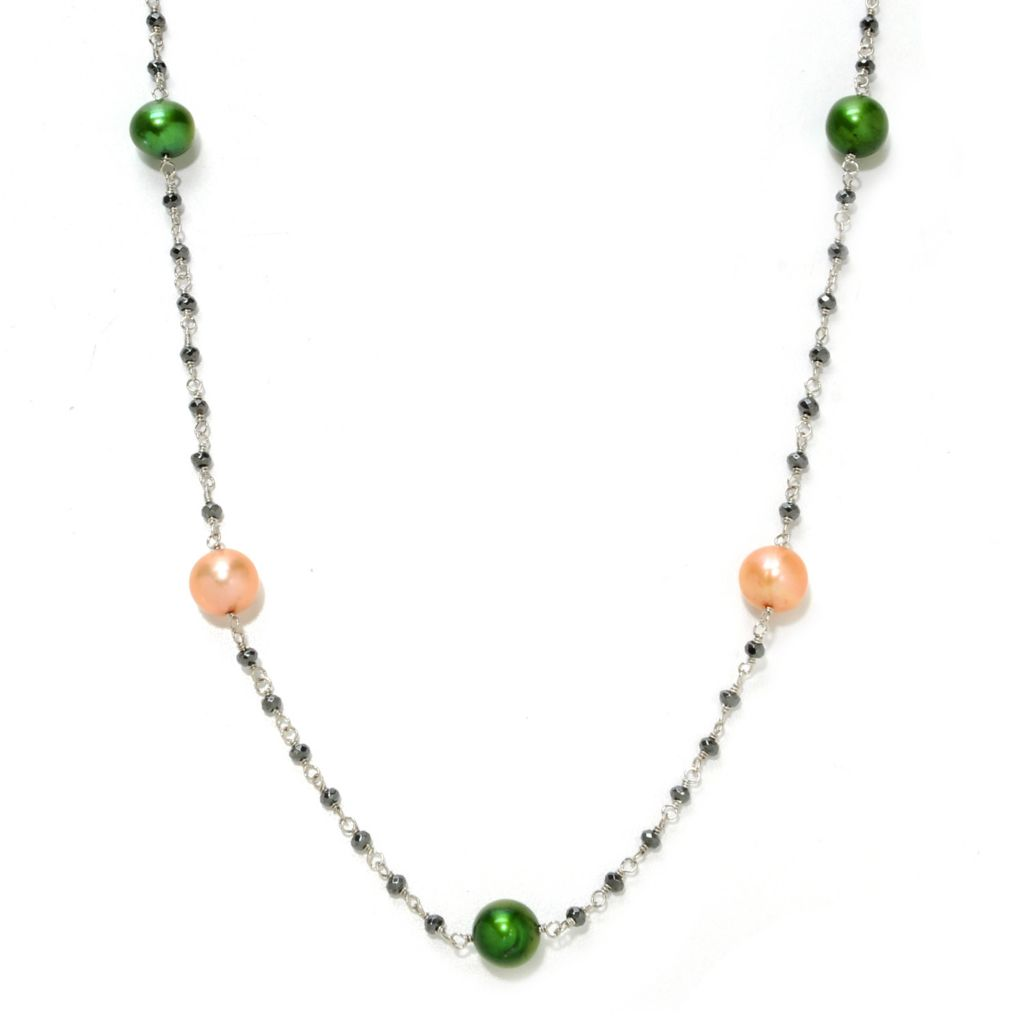 "138-499 - Dallas Prince Designs 37"" Sterling Silver 8-9mm Freshwater Cultured Pearl & Hematite Necklace"