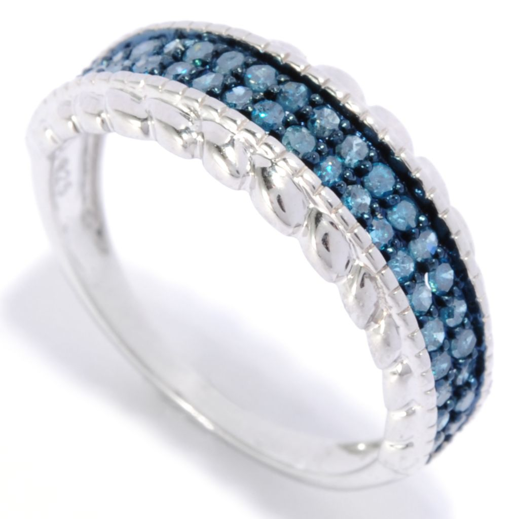 138-500 - Diamond Treasures Sterling Silver 0.50ctw Diamond Braid Edge Band Ring