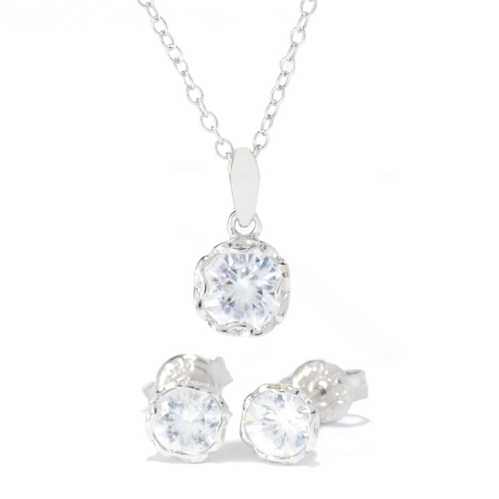 138-501 - Gem Treasures Sterling Silver 2.10ctw White Zircon Pendant & Stud Earrings Set