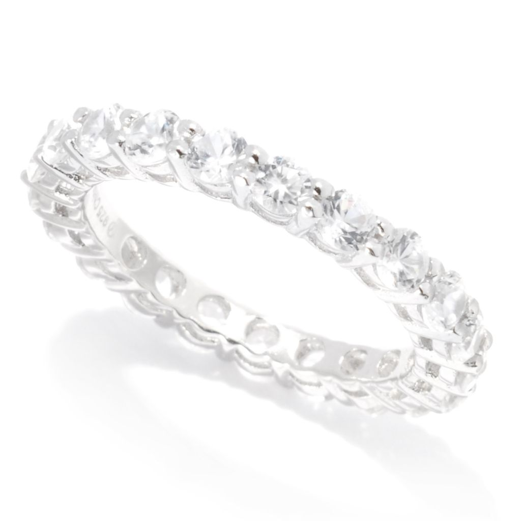 138-503 - Gem Treasures Sterling Silver 2.10ctw Round White Zircon Eternity Band Ring