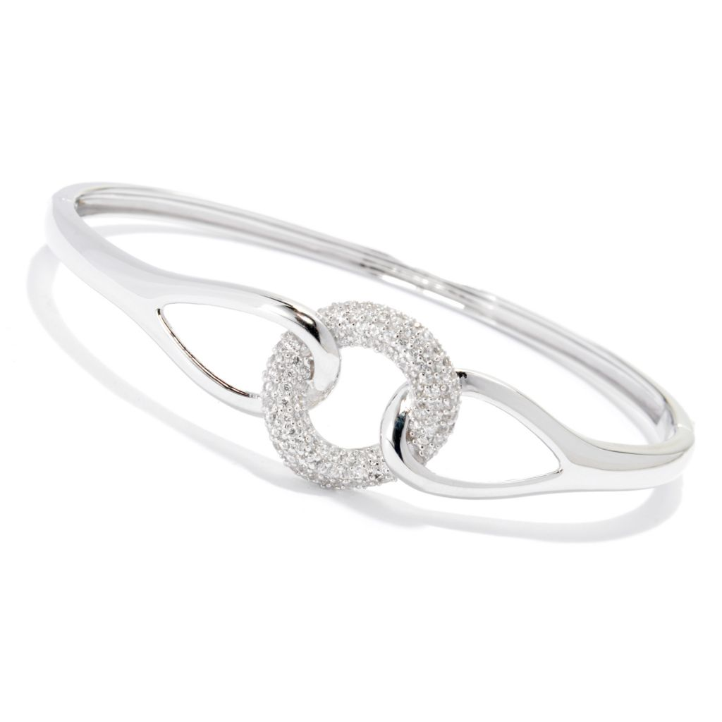 "138-504 - Gem Treasures Sterling Silver 7.5"" 1.58ctw White Zircon Bangle Bracelet"