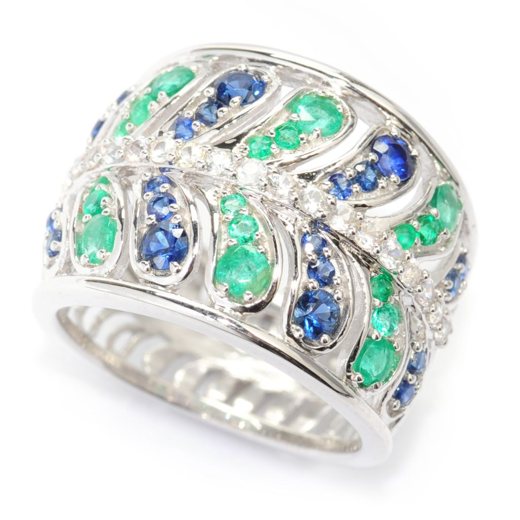 138-508 - Gem Treasures Sterling Silver 1.19ctw Emerald & Multi Sapphire Teardrop Band Ring