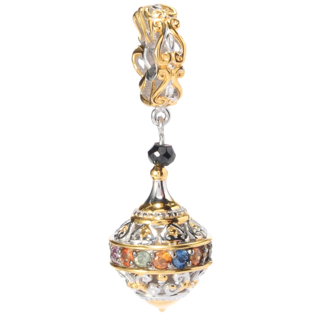 138-509 - Gems en Vogue Multi Sapphire & Black Spinel Filigree Drop Charm
