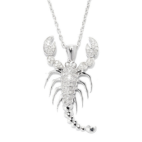 138-510 - Diamond Treasures Sterling Silver Diamond Zodiac Pendant w/ 18'' Chain