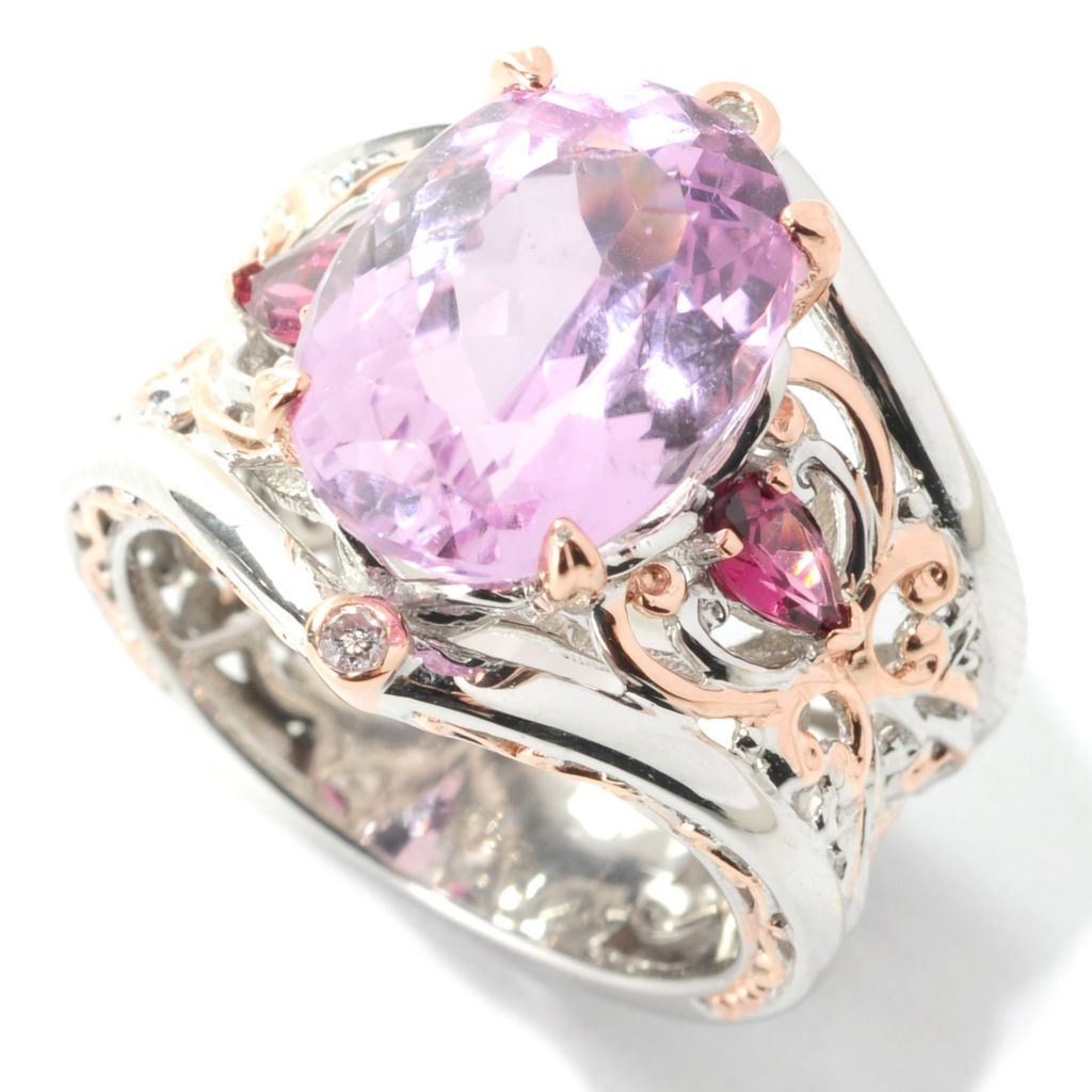 138-513 - Gems en Vogue 6.75ctw Oval Kunzite, Rhodolite & Diamond Wide Band Ring