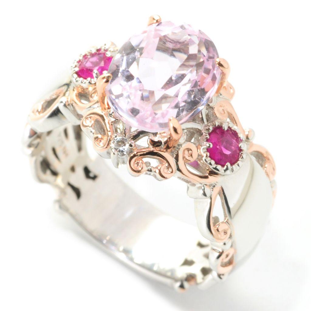 138-514 - Gems en Vogue 2.98ctw Kunzite, Pink Sapphire & White Sapphire Band Ring