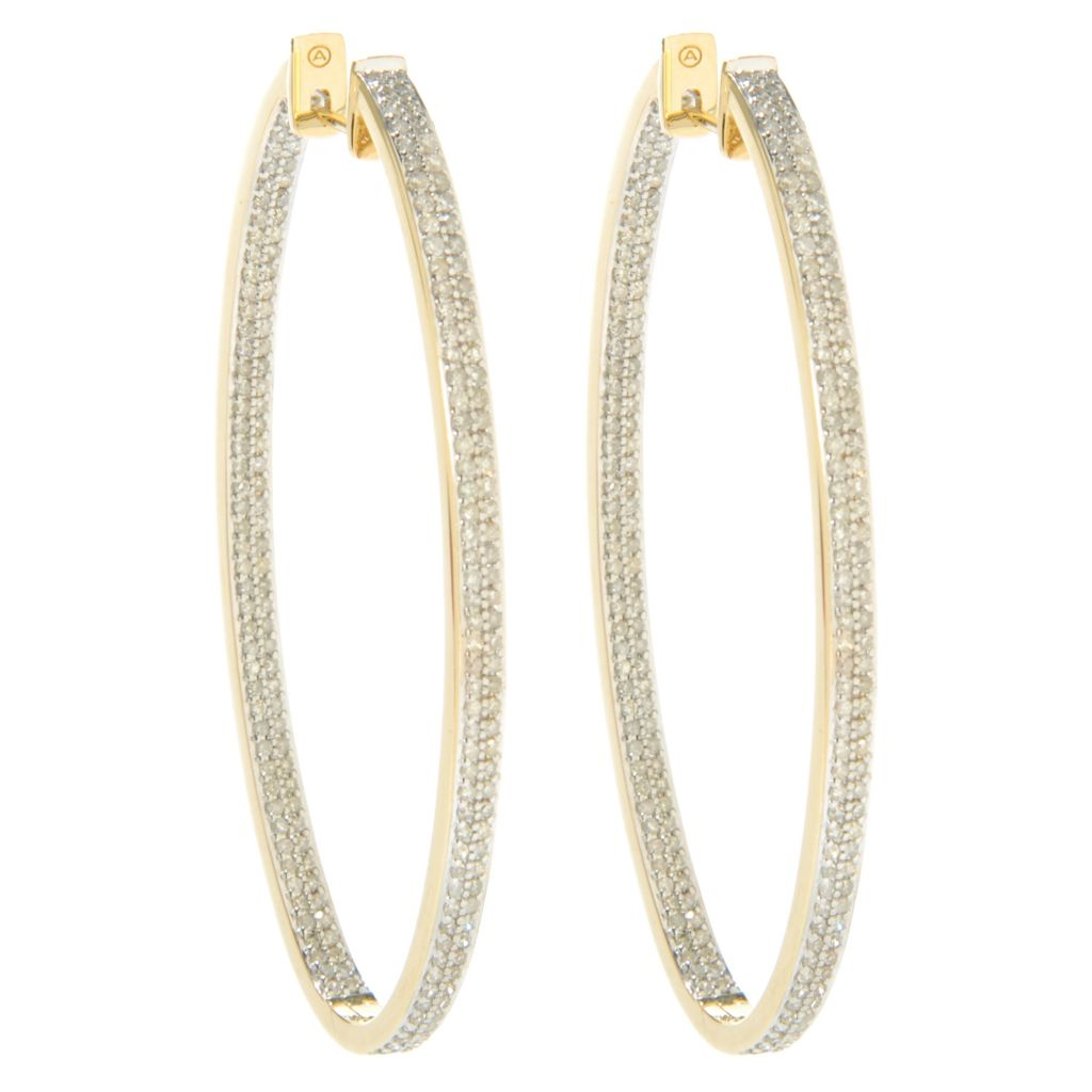 "138-515 - Beverly Hills Elegance 14K Gold 2.25"" 2.00ctw Diamond Inside-Out Oval Hoop Earrings"