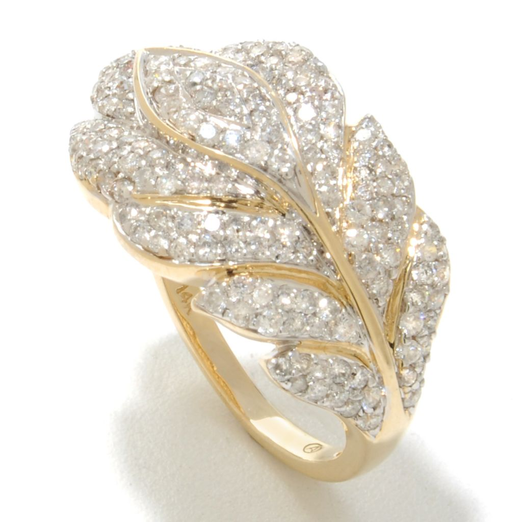 138-518 - Beverly Hills Elegance 14K Gold 1.25ctw White Diamond Leaf Ring