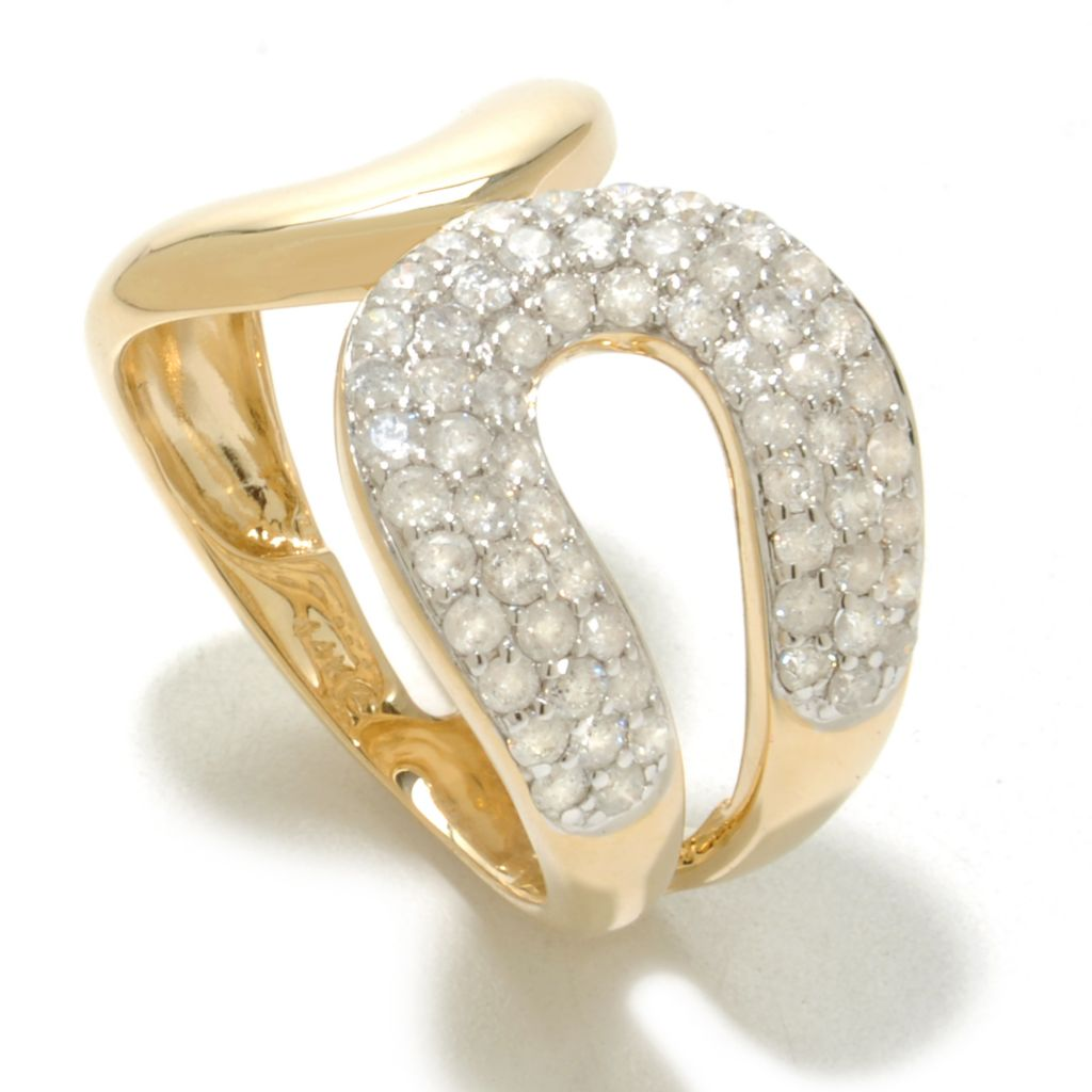 138-524 - Beverly Hills Elegance 14K Gold 1.00ctw Diamond Double Horseshoe Ring
