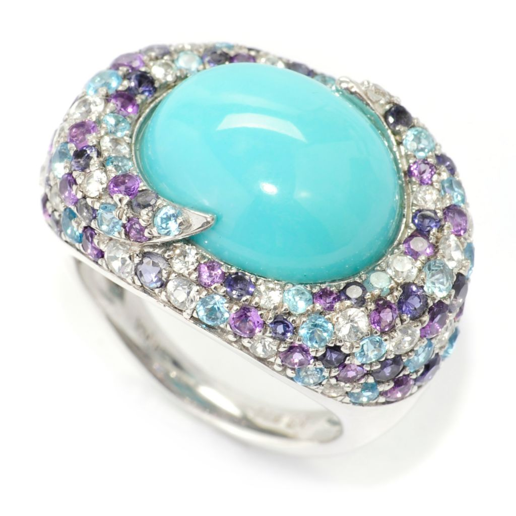 138-526 - Gem Insider Sterling Silver 14 x 12mm Sleeping Beauty Turquoise & Multi Gem Ring