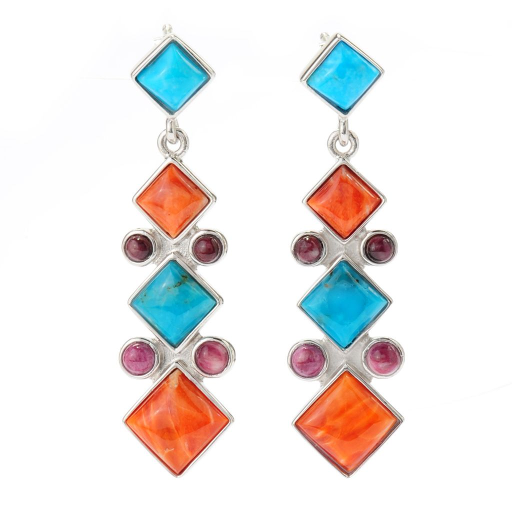 "138-527 - Gem Insider 1.5"" Sterling Silver Kingman Turquoise & Spiny Oyster Shell Earrings"