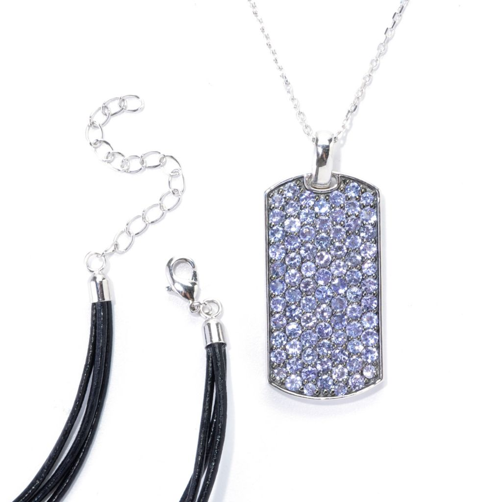 "138-530 - Gem Treasures Sterling Silver Pave Gemstone Pendant w/ 18"" Cord & 24"" Chain"