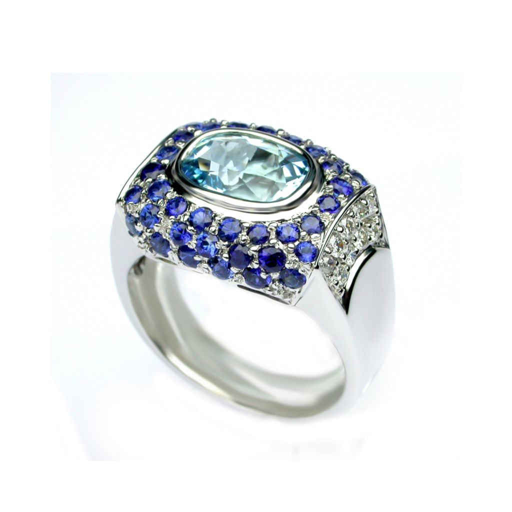 138-551 - Sonia Bitton Galerie de Bijoux 18K White Gold 3.65ctw Aquamarine, Sapphire & Diamond Ring