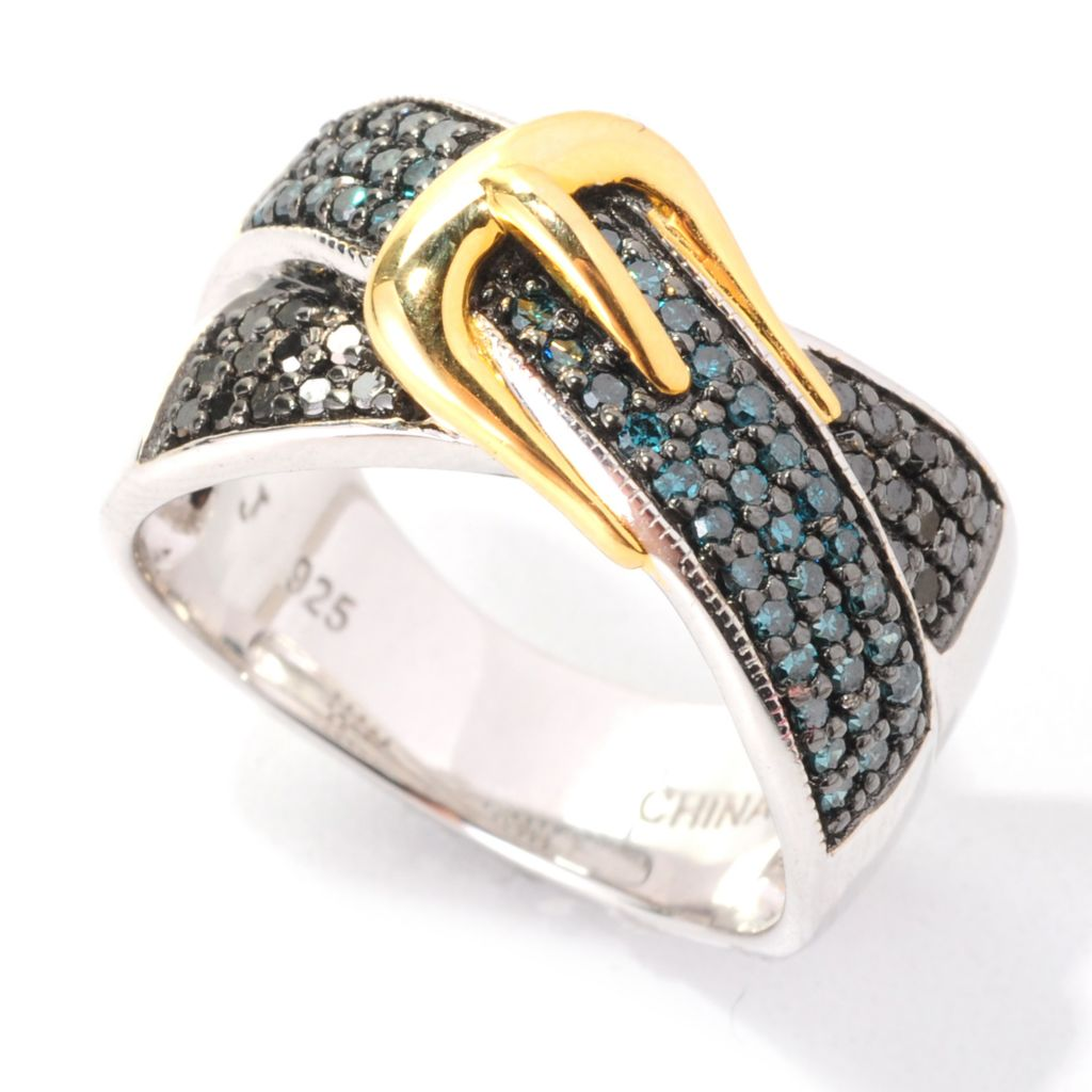 138-572 - Diamond Treasures Sterling Silver 0.50ctw Fancy Color Diamond Buckle Ring