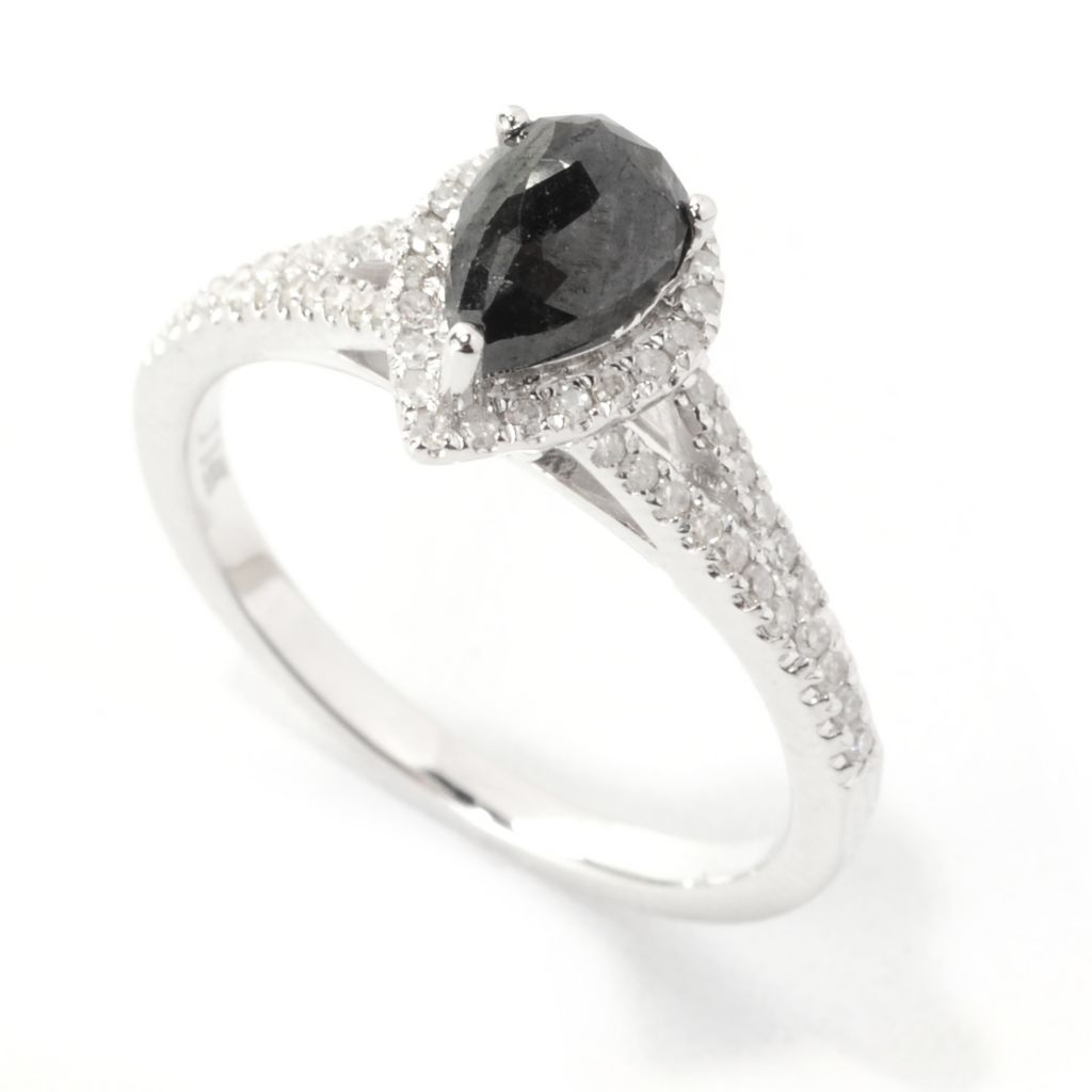 138-573 - Diamond Treasures 14K White Gold 1.50ctw Black & White Diamond Pear Shaped Ring
