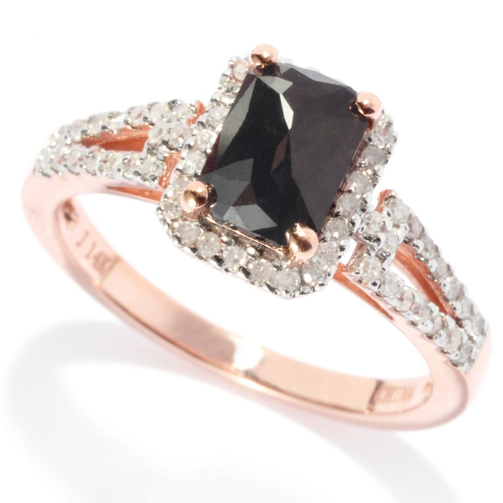 138-574 - Diamond Treasures 14K Rose Gold 1.50ctw Black & White Diamond Rectangle Ring