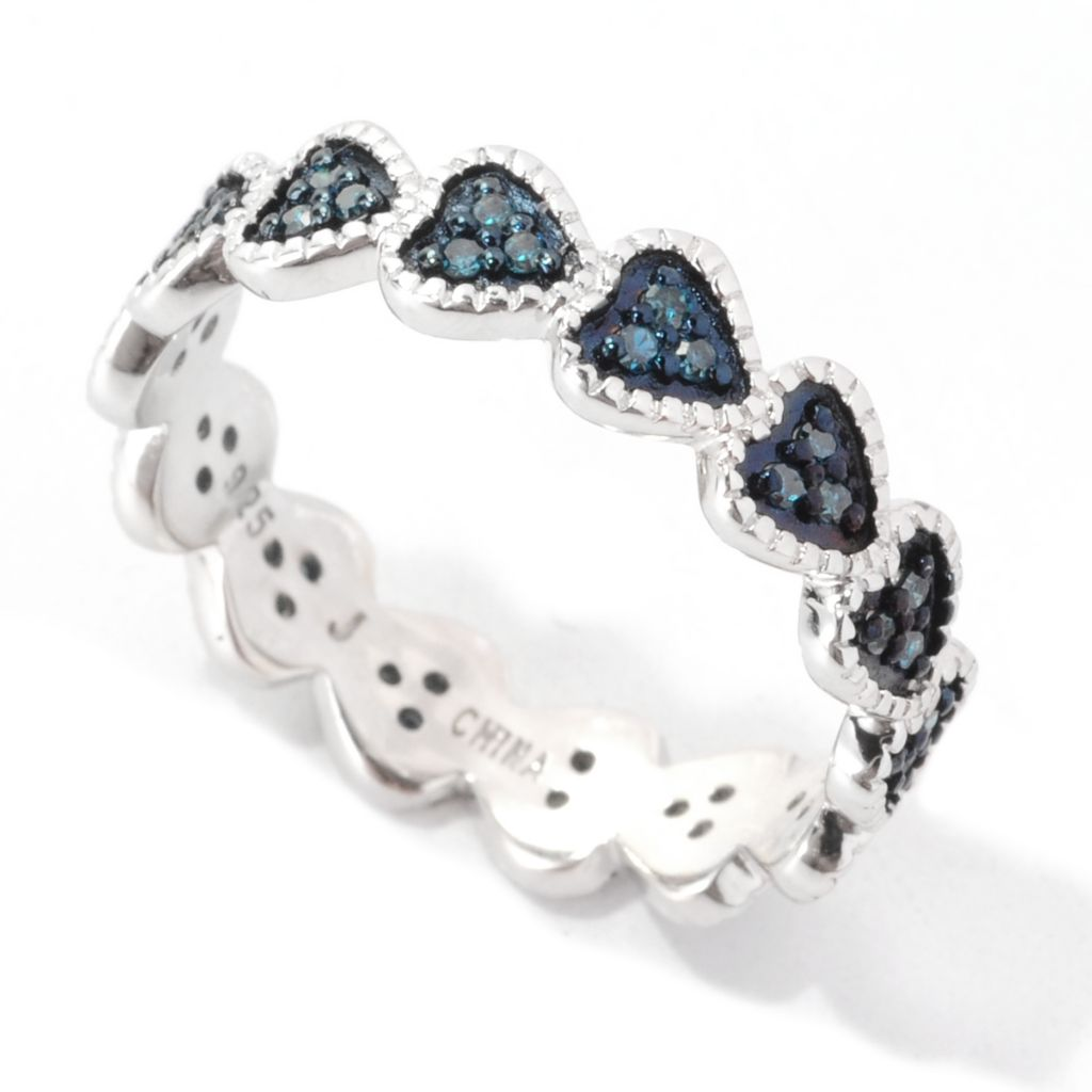 138-579 - Diamond Treasures Sterling Silver 0.16ctw Fancy Color Diamond Heart Band Ring