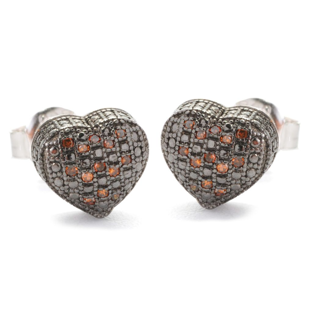 138-581 - Diamond Treasures Sterling Silver 0.08ctw Fancy Color Diamond Heart Earrings