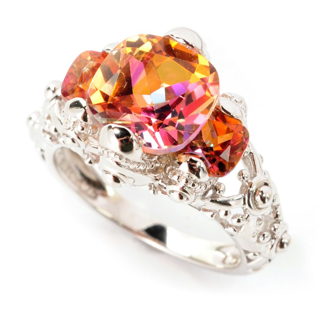 138-583 - Gem Treasures Sterling Silver 4.98ctw Sunset Topaz Three-Stone Ring