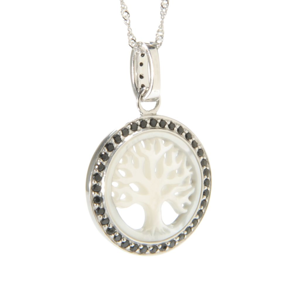 138-586 - Gem Treasures Sterling Silver Mother-of-Pearl & Black Spinel Tree Pendant
