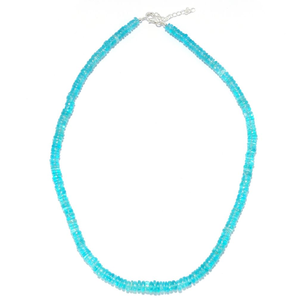 "138-587 - Gem Treasures Sterling Silver 18"" Blue Apatite Beaded Necklace w/ 2"" Extender"