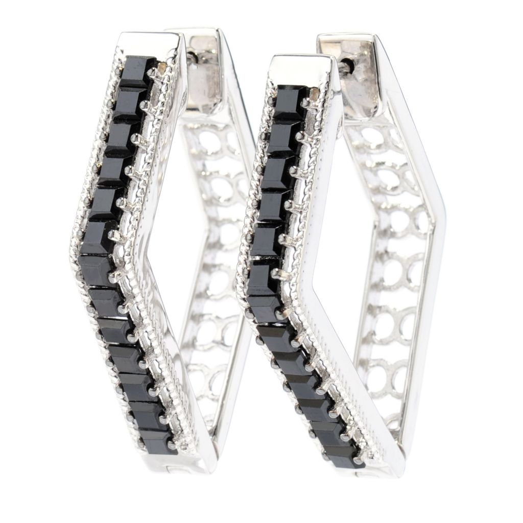 "138-588 - Gem Treasures Sterling Silver 1.5"" Black Spinel Diamond-Shaped Hoop Earrings"