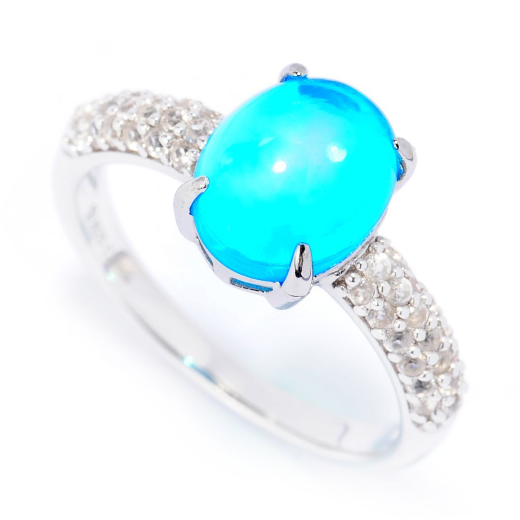 138-590 - Gem Treasures Sterling Silver 10 x 8mm Oval Cobalt Blue Opal & White Zircon Ring