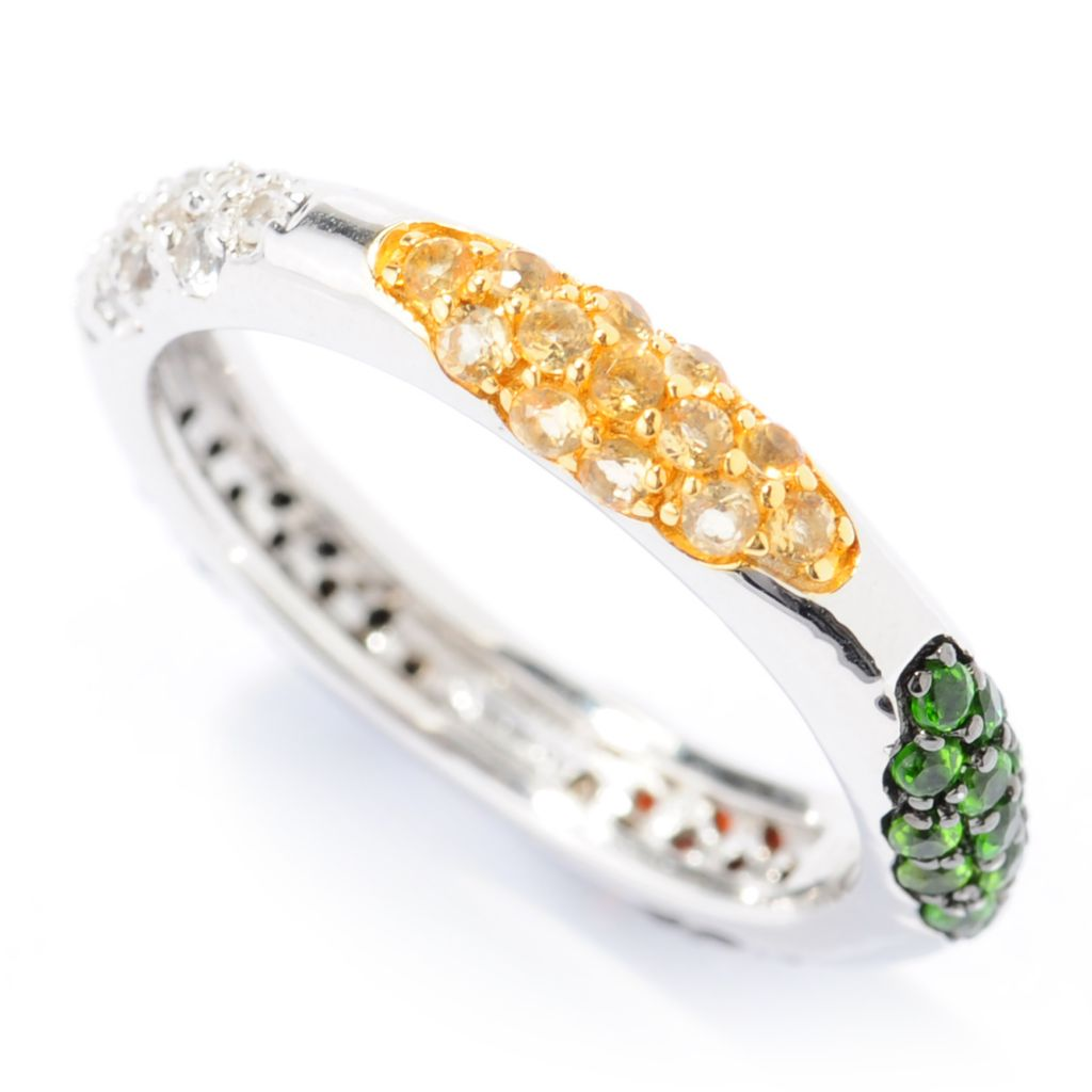 138-591 - Gem Treasures Sterling Silver 1.07ctw Multi Gemstone Station Eternity Band Ring