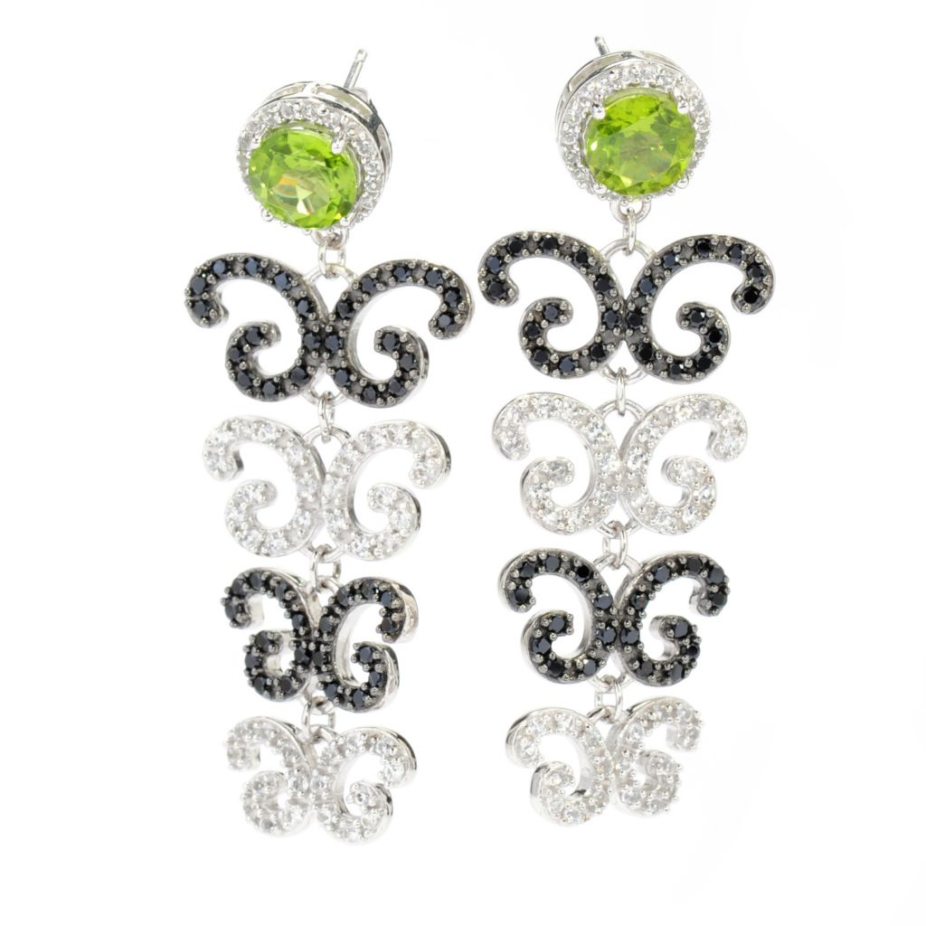 "138-593 - Gem Treasures Sterling Silver 2"" 7.91ctw Peridot & Multi Gemstone Dangle Earrings"