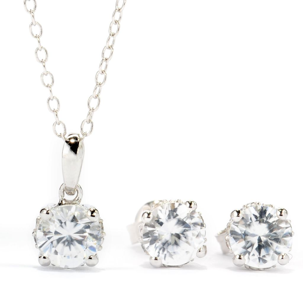 138-594 - Gem Treasures Sterling Silver 3.52ctw White Zircon Pendant & Stud Earrings Set