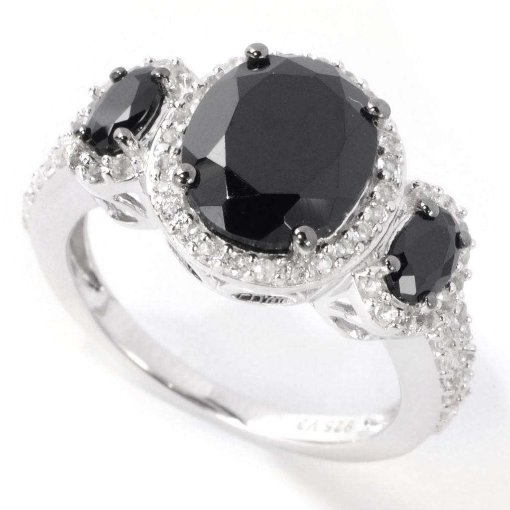 138-595 - Gem Treasures Sterling Silver 4.61ctw Spinel & White Topaz Three-Stone Ring