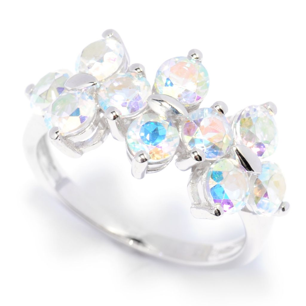 138-597 - Gem Treasures Sterling Silver 3.44ctw Round Opalescent Topaz Tri-Cluster Ring