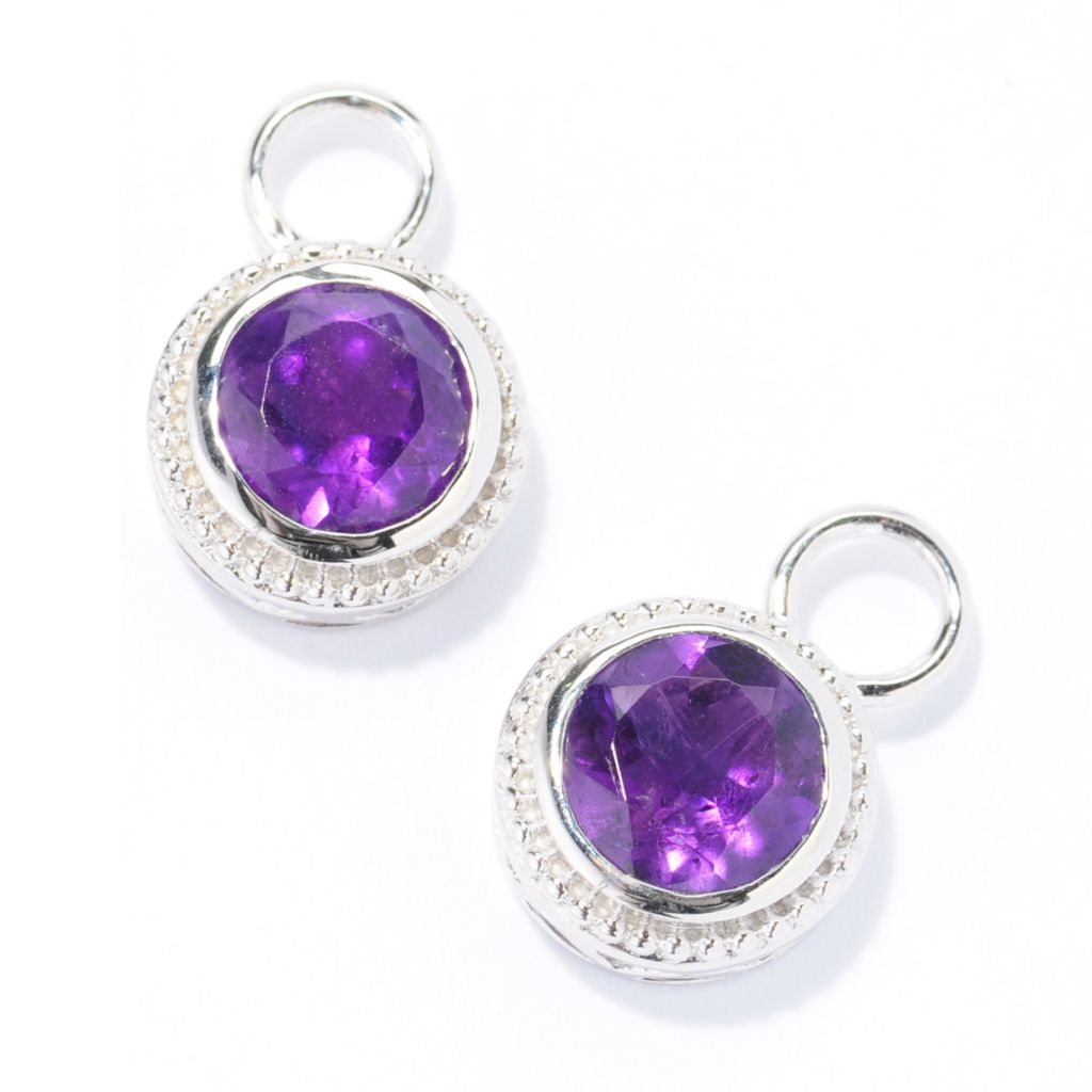 138-598 - Gem Treasures Sterling Silver 8mm Round Gemstone Beaded Halo Charm