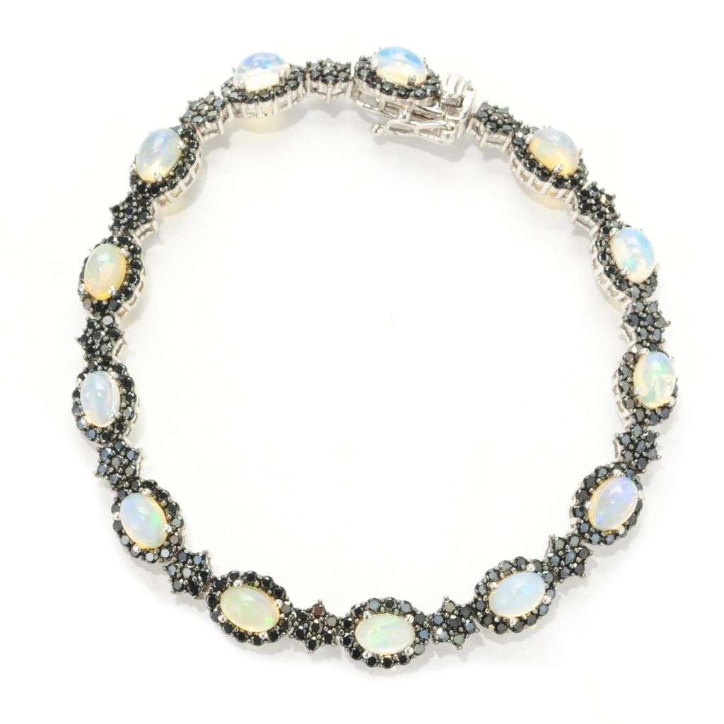 "138-604 - Gem Treasures Sterling Silver 7.25"" 6 x 4mm Ethiopian Opal & Spinel Bracelet"